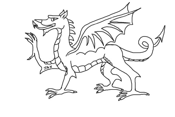 welsh flag coloring page - the gallery for welsh dragon outline