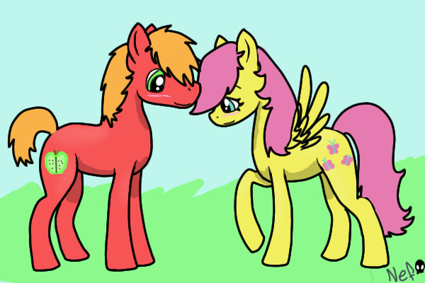 view topic pony love adopts big mac x fluttershy chicken smoothie