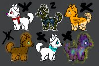 Colored in Doggos! Up for adoption!