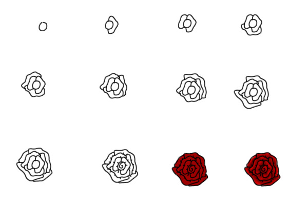 Cool Easy Drawings Of Roses Step By Step